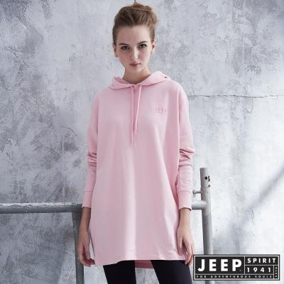 JEEP女裝 潮流over size長版帽TEE -粉紅色