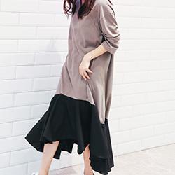 韓國 拼色V領洋裝魚尾裙