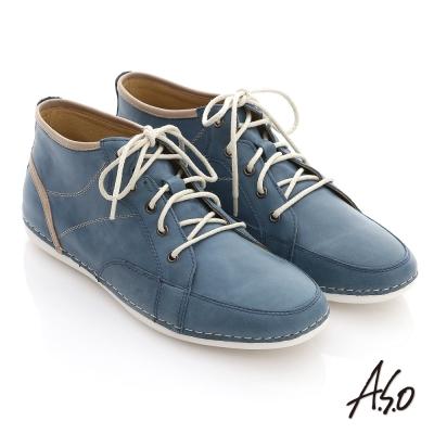 A.S.O 彈力抗震 蠟感牛皮綁帶中筒休閒鞋 藍色
