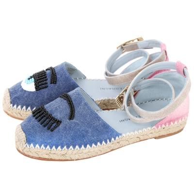 Chiara Ferragni 串珠眨眼撞色丹寧草編涼鞋(藍色)