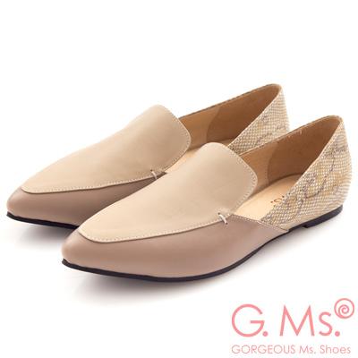 G.Ms. MIT系列-羊皮尖頭撞色拼接蛇紋樂福鞋-甜美杏