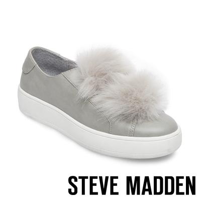 STEVE MADDEN-BREEZE 毛絨厚底懶人鞋-灰色