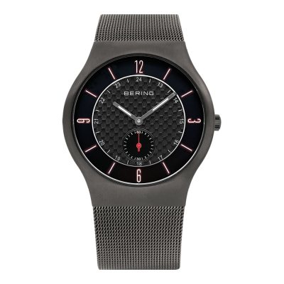 BERING丹麥精品手錶 單眼顯示米蘭帶系列 黑x紅40mm