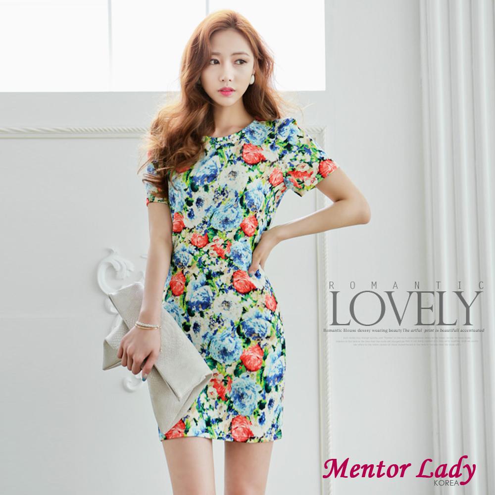 滿版花朵繽紛亮彩洋裝 (藍色)-Mentor Lady
