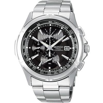 WIRED 極限玩家三眼計時腕錶-黑/40mm