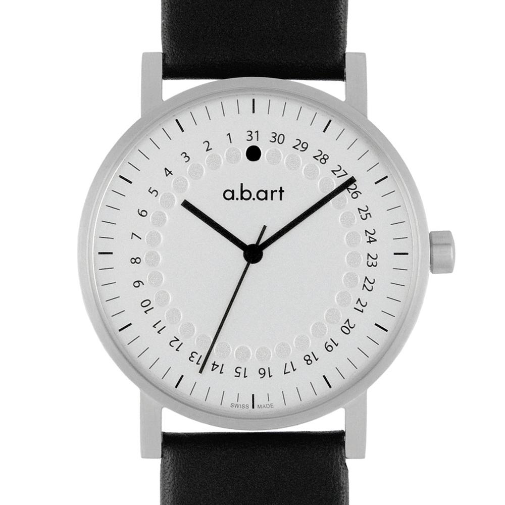 a.b.art O系列 經典日期圓盤跳點腕錶-銀白/40.5mm
