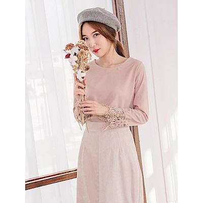 柔色調蕾絲造型袖口雪紡上衣-OB嚴選