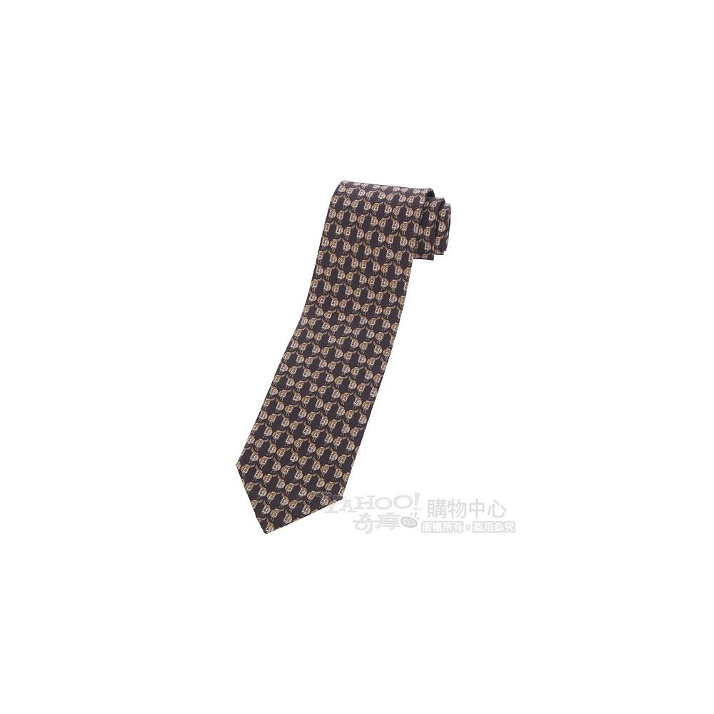GUCCI 馬銜圖騰飾領帶(咖啡色)