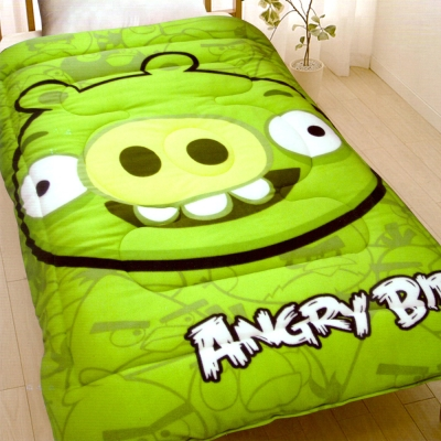 ANGRY BIRDS 憤怒鳥搖粒絨暖暖厚毯被5x6.5呎 綠豬