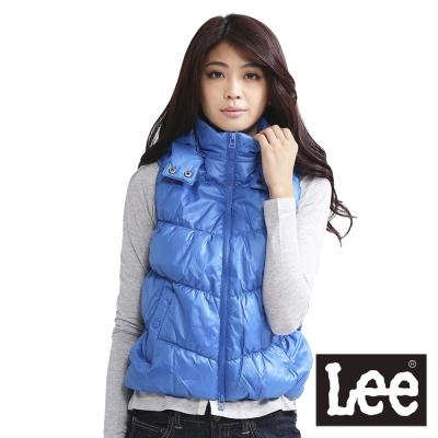 Lee-輕量可拆帽拉鍊保暖尼龍背心-女款-亮藍