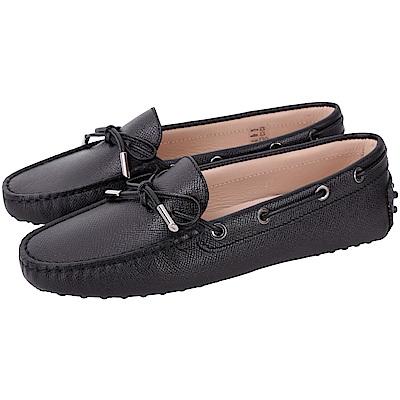TOD'S Gommino Driving 防刮牛皮繫帶豆豆休閒鞋(女款/黑色)