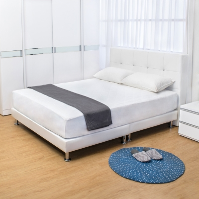 Bernice-貝塔絲5尺白色皮革雙人床架床頭片床底不含床墊
