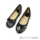 BUTTERFLY TWISTS-動物壓紋金屬蝴蝶結記憶軟墊平底鞋-卵石白