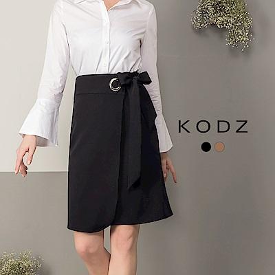 東京著衣-KODZ 都會優雅釦環綁帶設計裙-S.M.L(共二色)