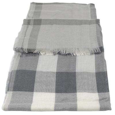 BURBERRY 經典格紋絲質羊毛披肩圍巾/絲巾.灰