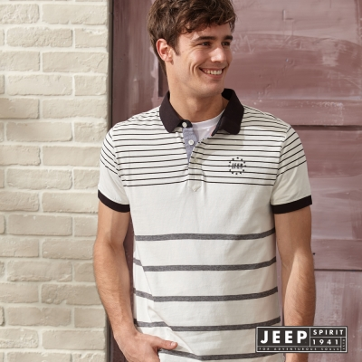 JEEP 美式風格條紋短袖POLO衫 象牙白 (合身版)