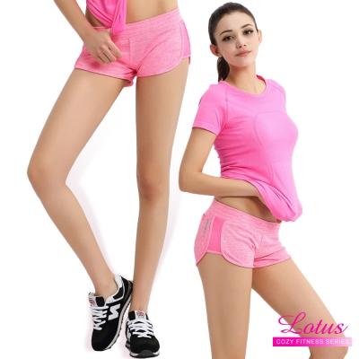 運動褲 糖霜馬卡龍立體剪裁後口袋運動短褲-粉紅 快速到貨 LOTUS