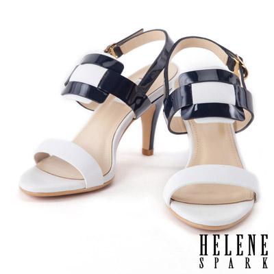 涼鞋 HELENE SPARK 海軍風異材質拼接撞色高跟涼鞋-藍
