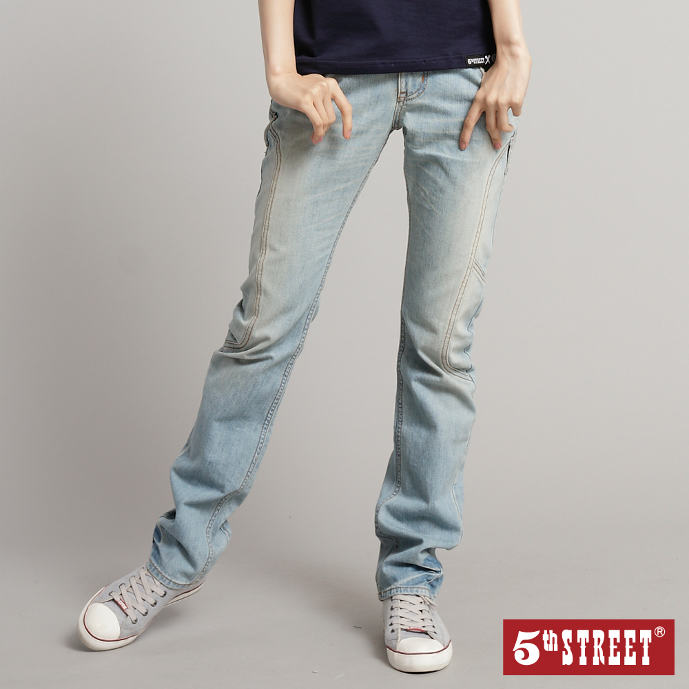 【5th STREET】立體剪裁 小直筒牛仔褲-女款(拔淺藍)