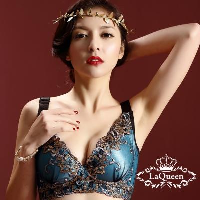內衣  經典華麗刺繡機能無鋼圈成套內衣-藍 La Queen
