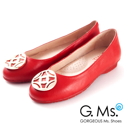 G.Ms. 金屬圓釦全真皮微坡跟娃娃鞋-火熱紅