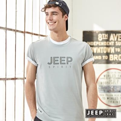 JEEP 美式經典品牌文字短袖TEE 灰色 (合身版)