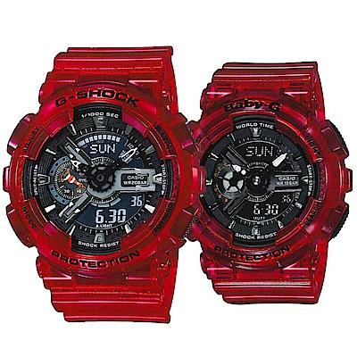 CASIO洋生態設計風格透明果凍色對錶-紅(GA-110CR-4+BA-110CR-4)