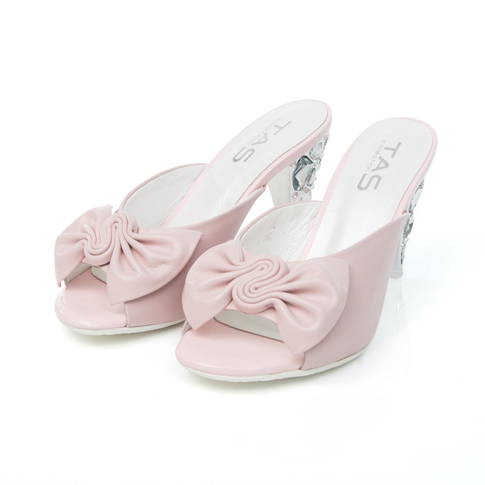 TAS 抓褶蝴蝶結寶石鞋跟涼拖鞋-玫瑰粉