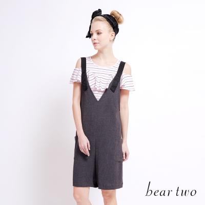 beartwo 露肩荷葉造型條紋上衣(二色)-動態show