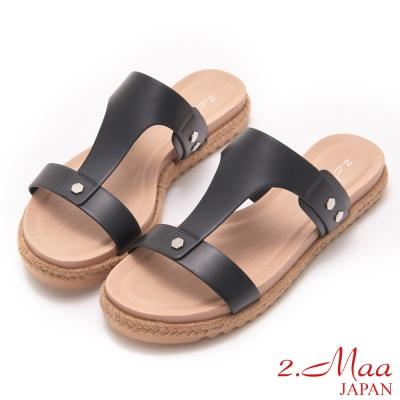 2-Maa-麻編平跟涼拖鞋-黑