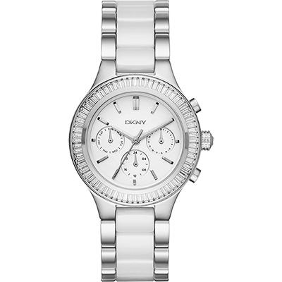 DKNY Ceramic 晶鑽陶瓷日曆時尚腕錶-白x銀/38mm