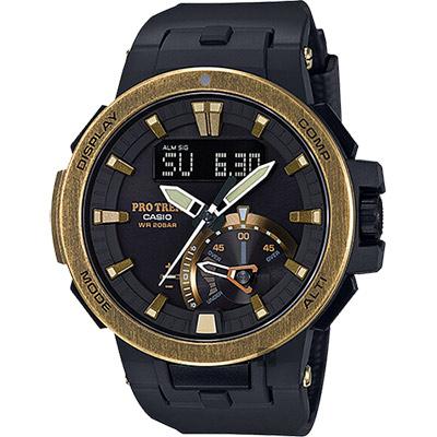 CASIO 卡西歐 PRO TREK 專業戶外太陽能電波手錶-金/58.7mm