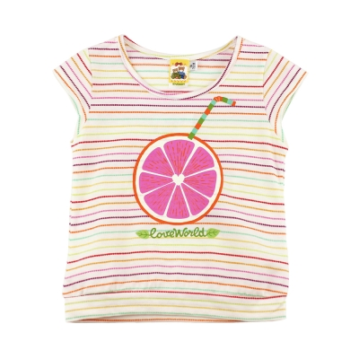 愛的世界 MYBABY 純棉圓領彩色橫紋半袖T恤/1~4歲
