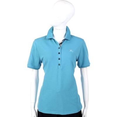 BURBERRY 水藍色經典格紋短袖上衣 POLO衫