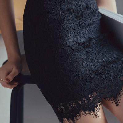 AIR SPACE 優雅女伶蕾絲窄短裙(黑)