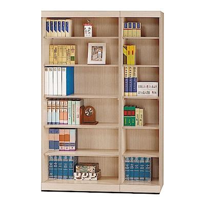 品家居 多明尼4尺橡木紋開放式書櫃-120x33x180cm免組