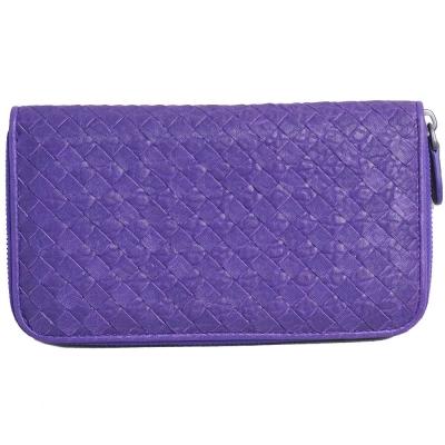 BOTTEGA VENETA 經典山羊皮手工編織拉鍊長夾(紫)