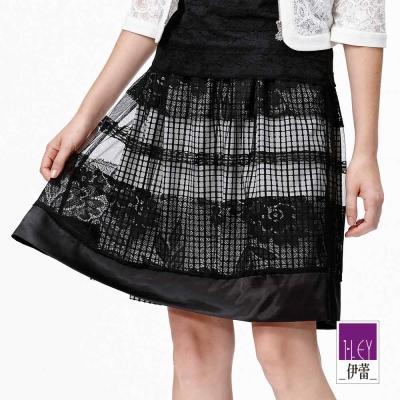 ILEY伊蕾-網紗蕾絲雙層絲緞裙