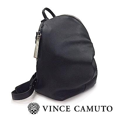 Vince Camuto 柔軟皮革金屬扣斜蓋式後背包-黑色