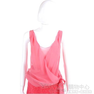 PHILOSOPHY-AF 粉紅色雪紡紗質綁結無袖上衣