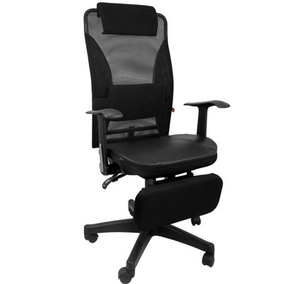 LOGIS-夏冬兩用專利置腳台全網椅/電腦椅/辦公椅/全網椅/皮椅(含皮墊)
