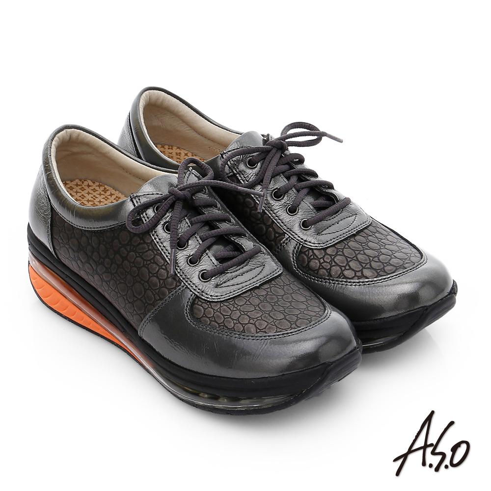 A.S.O 活力微笑 牛皮雙層抗震綁帶奈米休閒鞋 深灰色