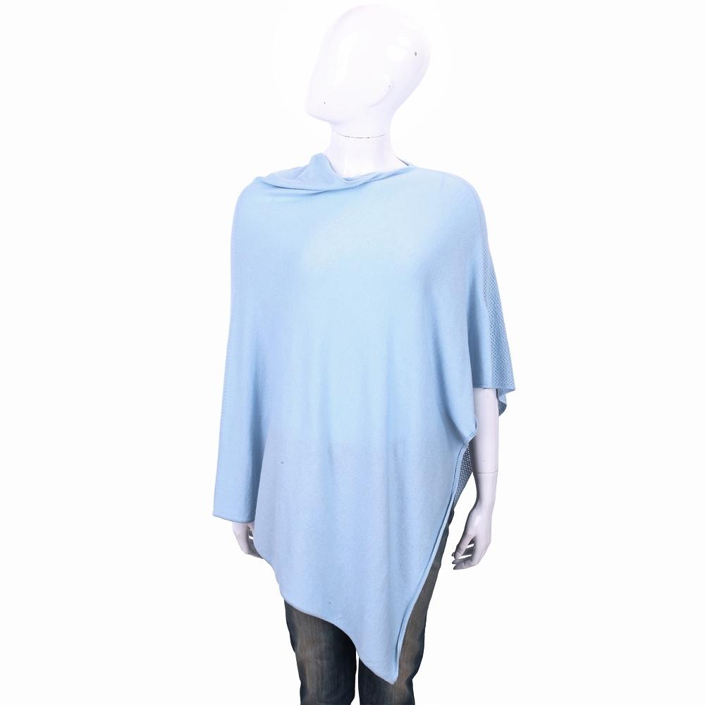 ALLUDE 喀什米爾水藍色羊毛罩衫