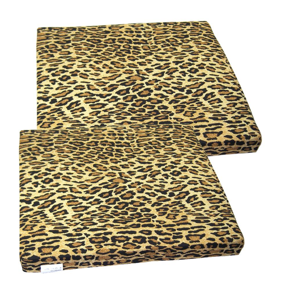 高質感可拆洗豹紋坐墊-2入