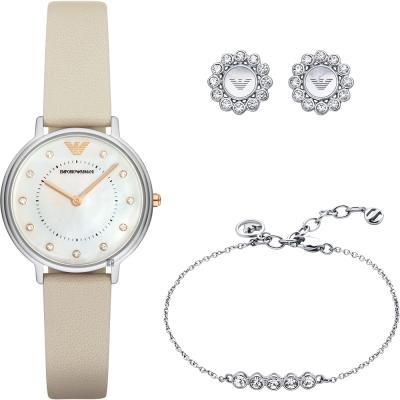 Emporio Armani Dress 亞曼尼晶鑽女仕套錶組-珍珠貝x米白/32mm
