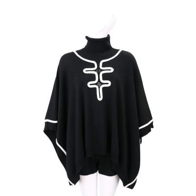 BOUTIQUE MOSCHINO 線飾邊黑色高領羊毛斗篷罩衫