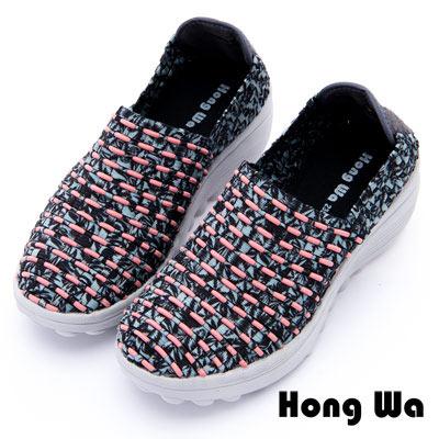 Hong Wa - 運動休閒透氣叢林紋編織布鞋 - 橘