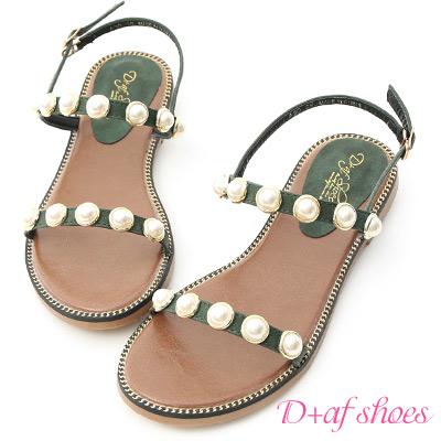 D+AF 人魚眼淚.精緻珍珠飾釦一字涼鞋*綠
