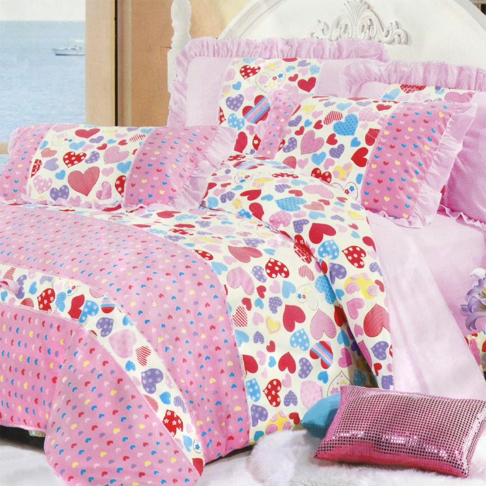 彩舍家居 粉紅心願 雙人兩用被床包+吸濕排汗冬被 超值組