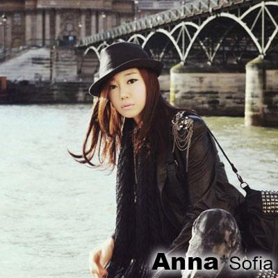 AnnaSofia-純黑風潮-中折紳士帽禮帽爵士帽